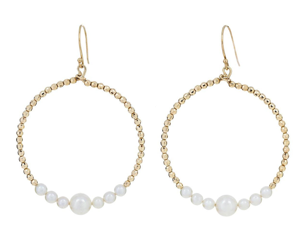 Akoya Pearl and Gold Bead Loop Earrings - TWISTonline