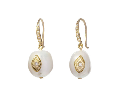 Small Pearl and Diamond Charlie Earrings