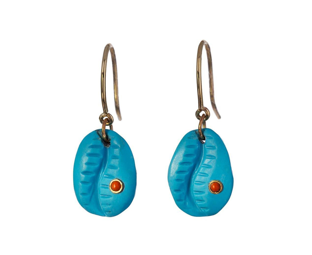 Turquoise and Coral Cauri N°2 Earrings - TWISTonline