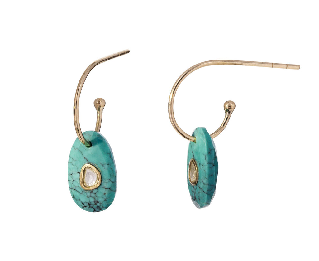 Turquoise and Diamond Orso Hoops - TWISTonline