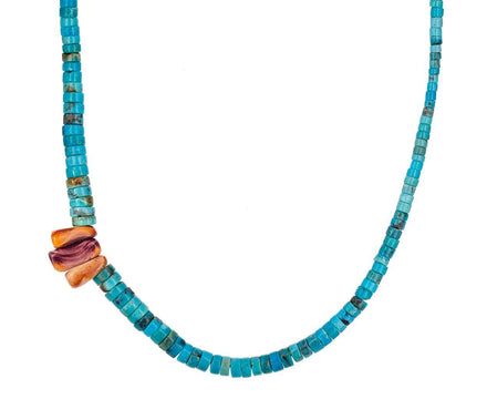 Turquoise and Coral Bali Necklace - TWISTonline