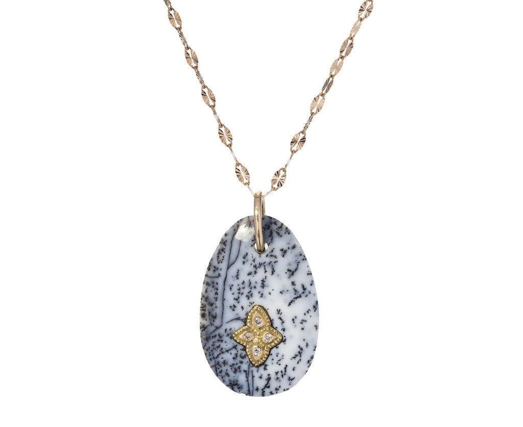 Dendritic Agate and Diamond Gaia N°1 Necklace