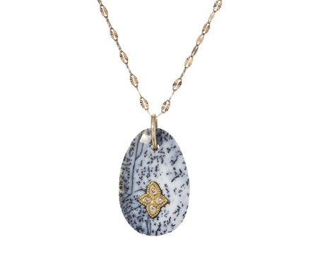 Dendritic Agate and Diamond Gaia N°1 Necklace - TWISTonline