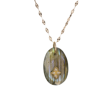 Small Labradorite and Diamond Gaia N°1 Necklace