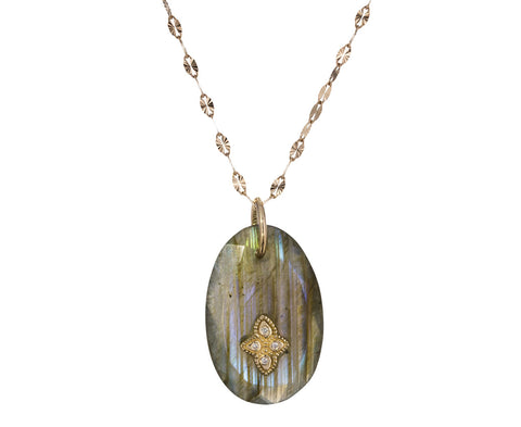 Small Labradorite and Diamond Gaia N°1 Necklace - TWISTonline