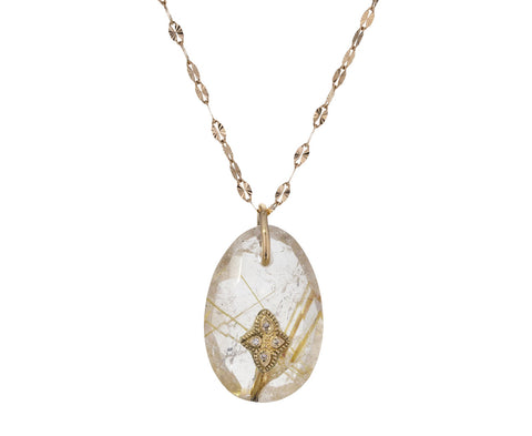 Small Rutilated Quartz and Diamond Gaia Necklace - TWISTonline