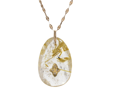 Rutilated Quartz and Diamond Gaia Necklace
