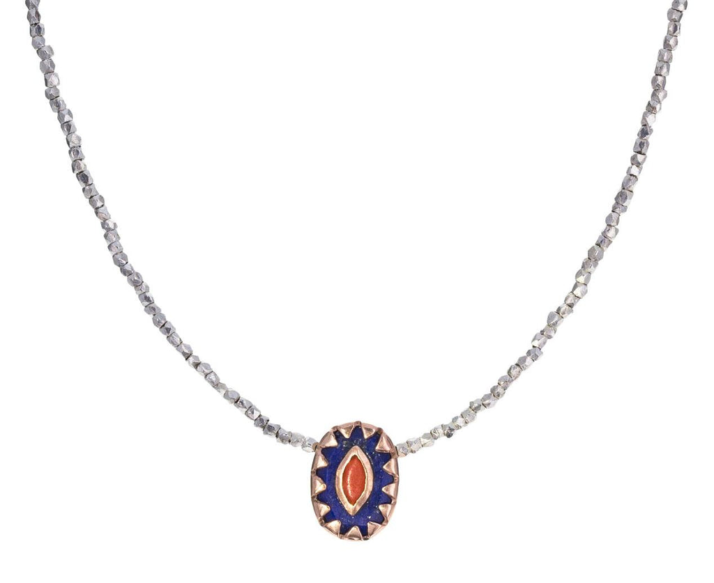 Lapis and Coral Montauk Nº4 Necklace zoom 1_pascale_monvoisin_lapis_coral_choker_necklace