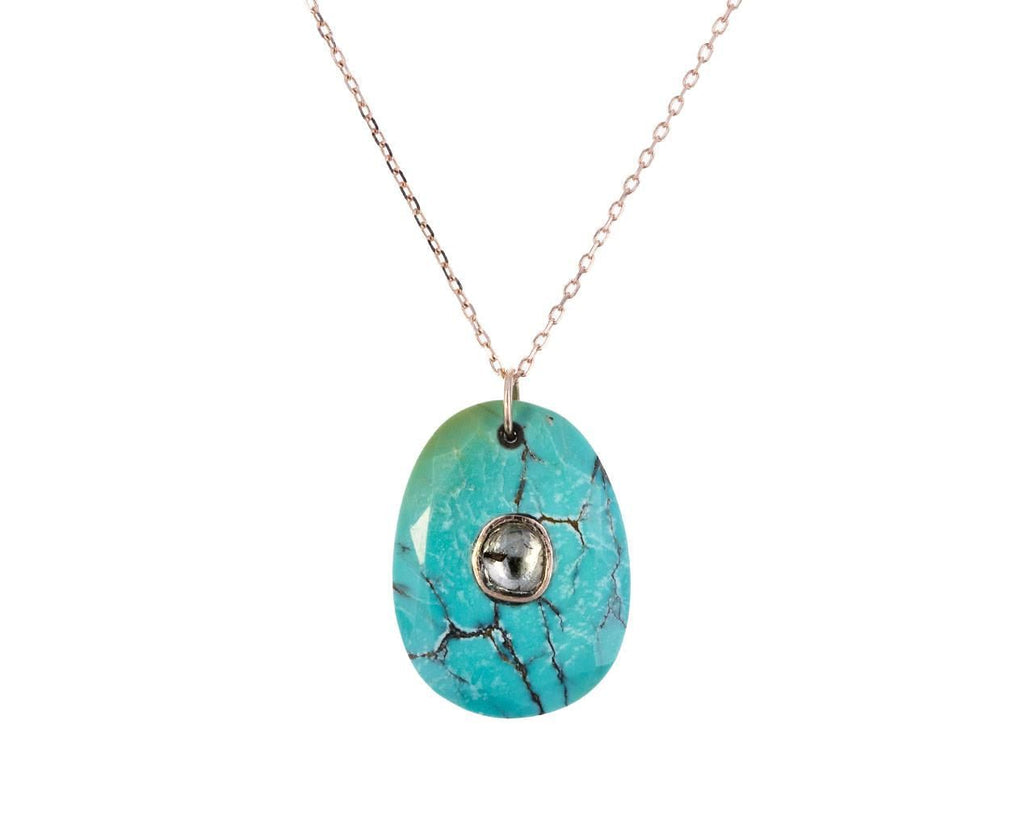 Turquoise and Polki Diamond N°2 Pendant Necklace zoom 1_pascale_monvoisin_gold_turquoise_orso_necklace