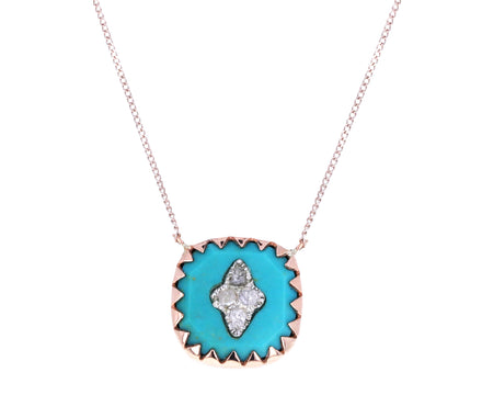 Turquoise and Diamond Bowie Necklace