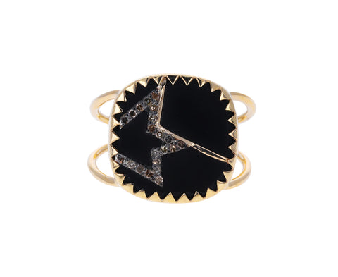 Black Resin and Diamond Verda N°2 Ring