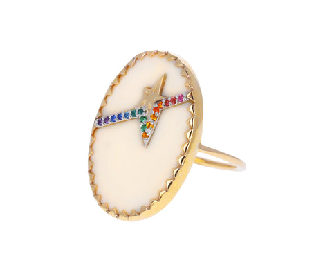 White Resin and Rainbow Gemstone Varda N°3 Ring