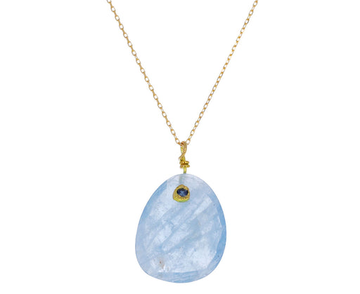 Aquamarine and Blue Sapphire Pendant Necklace