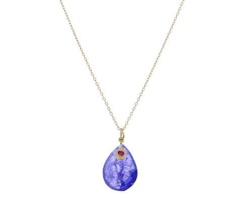 Tanzanite and Ruby Pendant Necklace