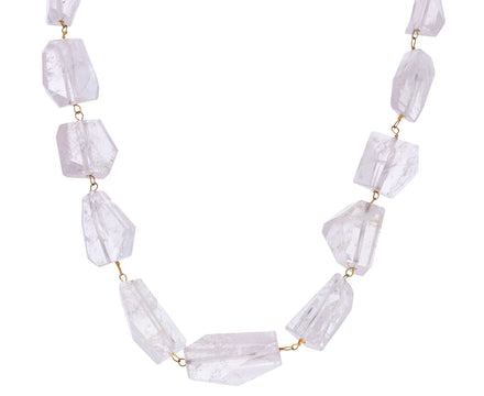 Asymmetrical Rose Quartz Chain Necklace