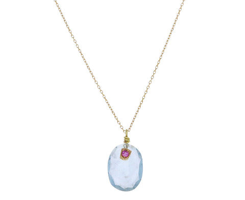 Aquamarine and Pink Sapphire Pendant Necklace