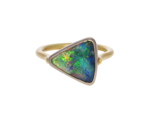 Asymmetrical Black Crystal Opal Ring