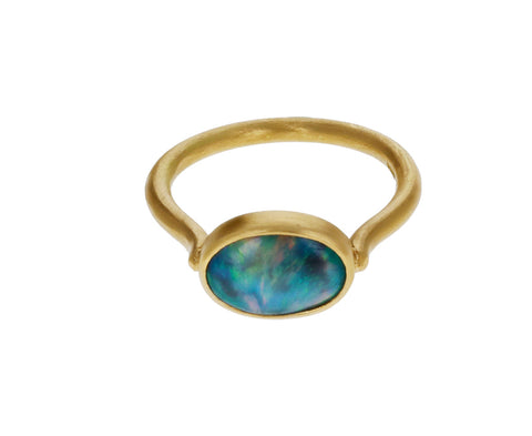 Black Crystal Opal Ring