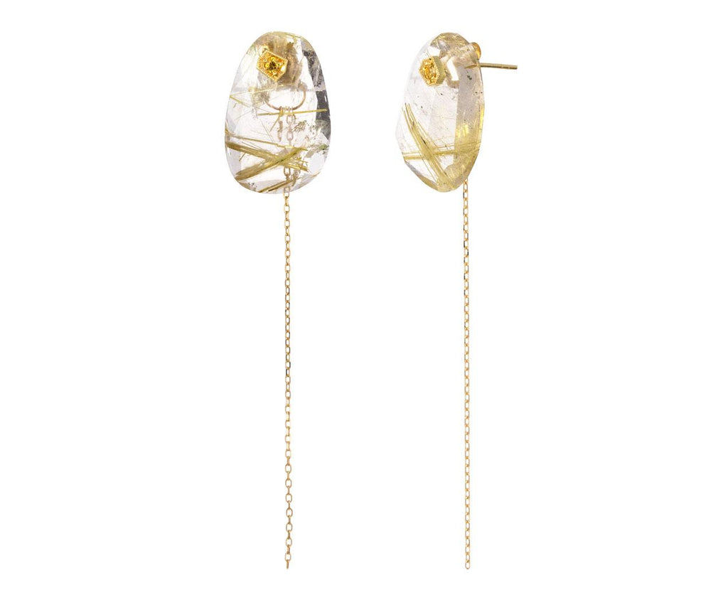 Golden Rutilated Quartz and Sapphire Chain Earrings - TWISTonline