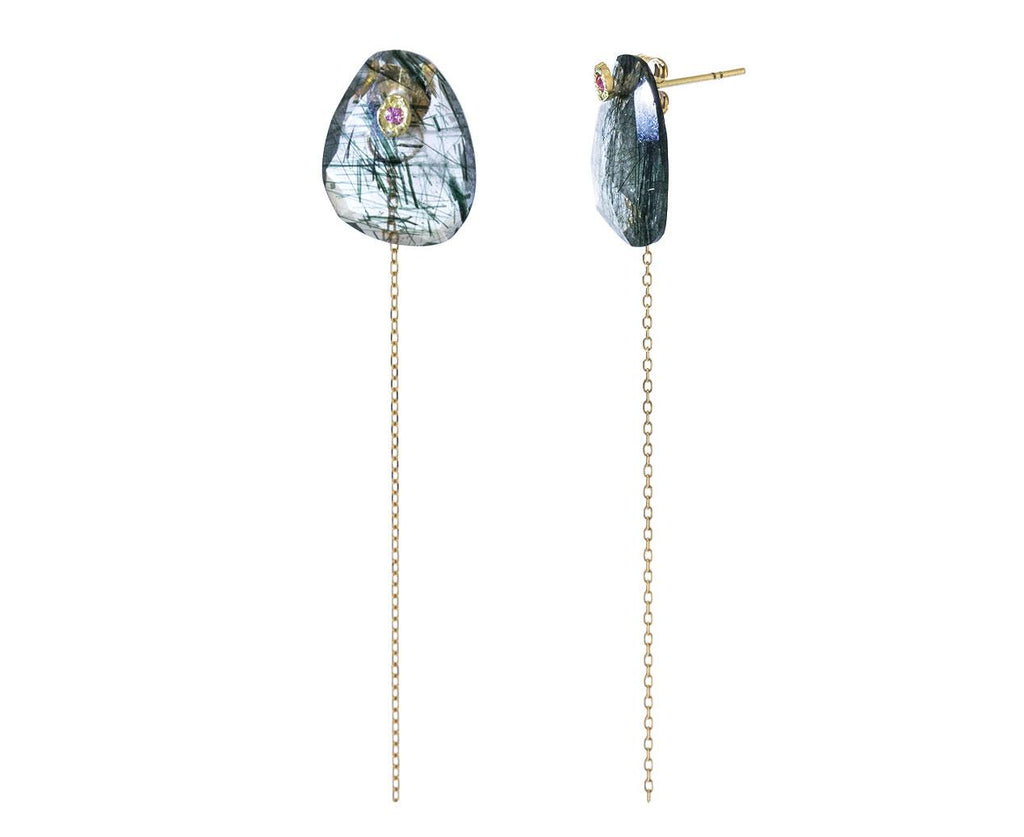Rutilated Quartz and Sapphire Chain Earrings zoom 1_monaka_moss_quartz_sapphire_chain_earrings
