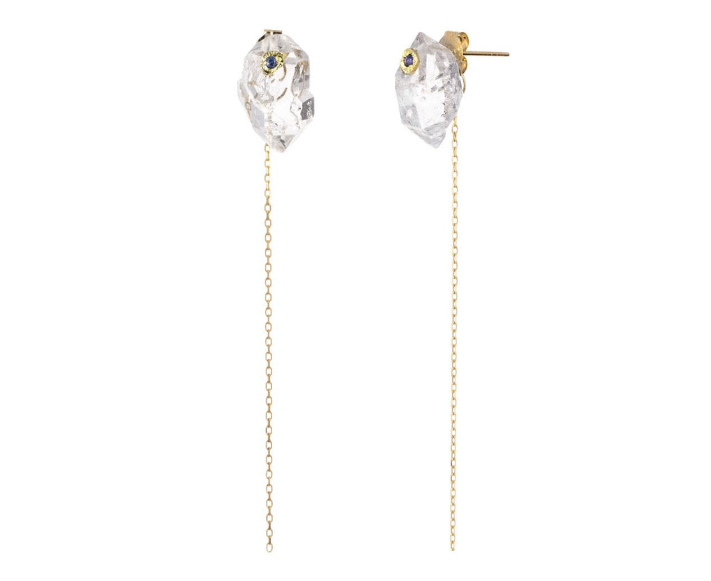 Herkimer Diamond and Sapphire Chain Earrings zoom 1_monaka_gold_diamond_quartz_sapphire_earrings