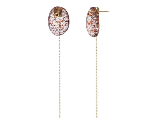 Strawberry Quartz and Ruby Chain Earrings - TWISTonline