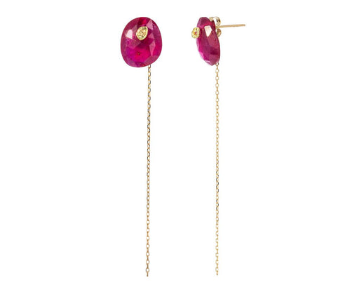Ruby and Sapphire Chain Earrings - TWISTonline
