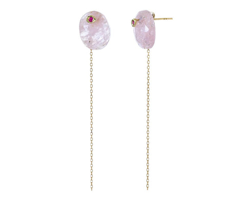 Morganite and Ruby Chain Earrings - TWISTonline