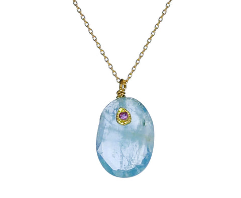 Aquamarine and Pink Sapphire Necklace - TWISTonline