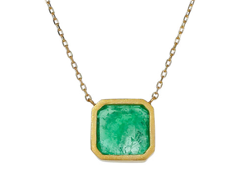 Square Colombian Emerald Necklace
