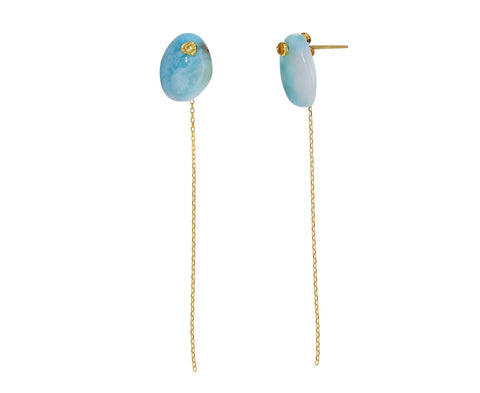 Larimar and Yellow Sapphire Chain Earrings