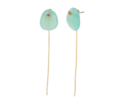 Chrysoprase and Pink Sapphire Chain Earrings - TWISTonline