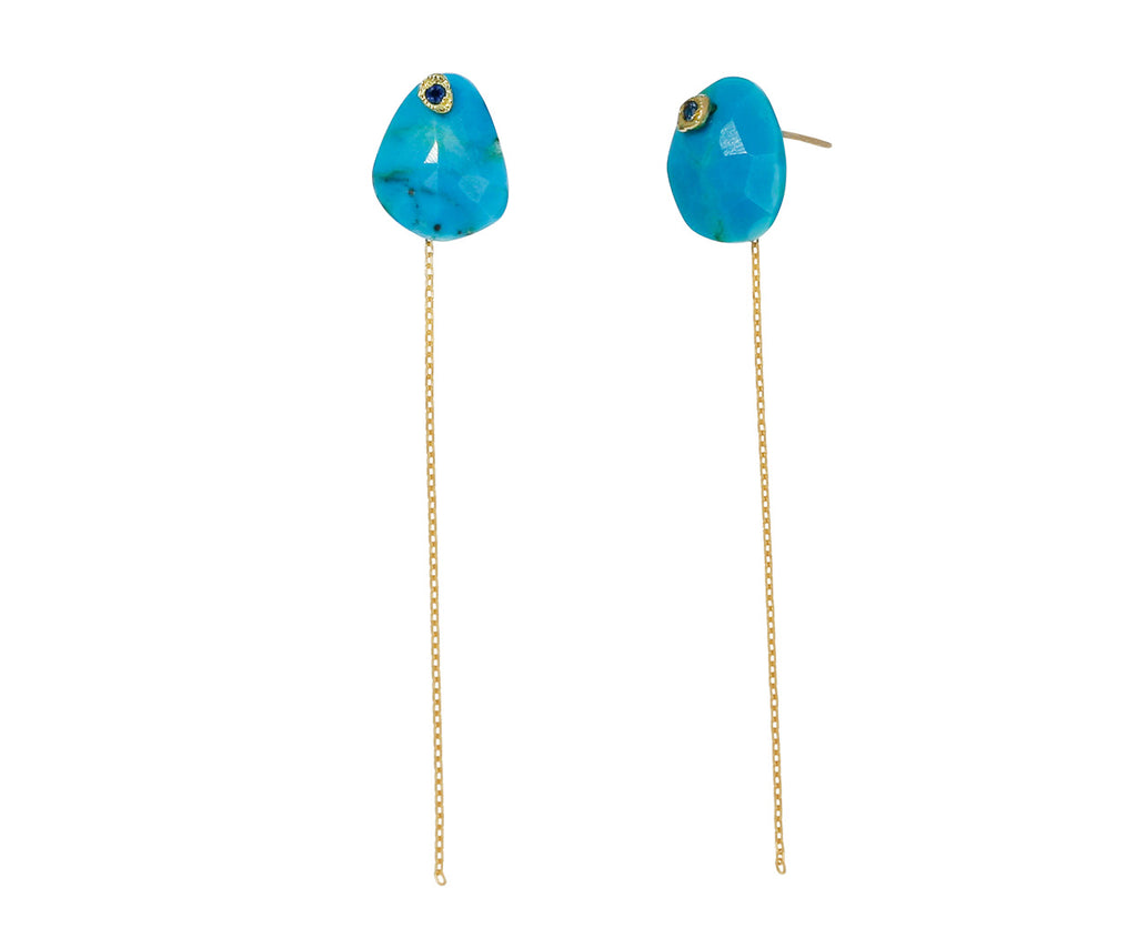 Turquoise and Blue Sapphire Chain Earrings - TWISTonline