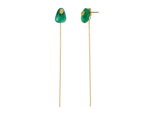 Emerald And Yellow Sapphire Chain Earrings