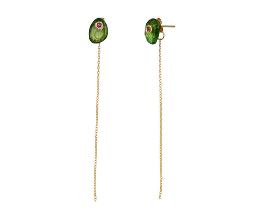 Green Garnet and Pink Sapphire Chain Earrings - TWISTonline