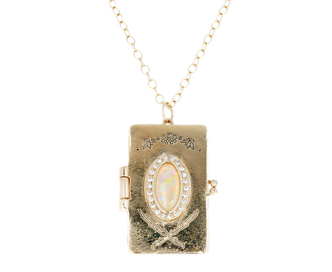 Opal Woodland Cathedral Book Locket Necklace