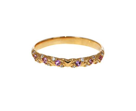 Pink Sapphire and Diamond Saturn's Garland Ring