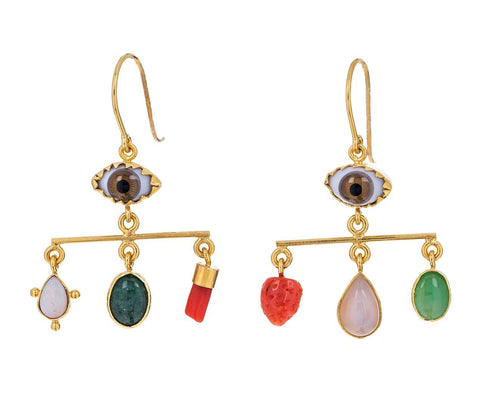 Ceramic Eye Vintage Trinket Balance Earrings - TWISTonline