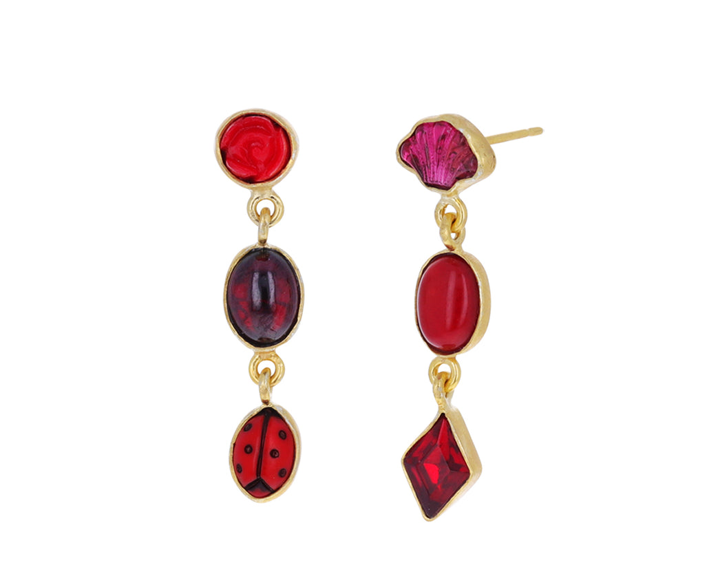Vintage Red Charm Drop Earrings