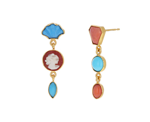 Coral and Turquoise Vintage Charm Earrings