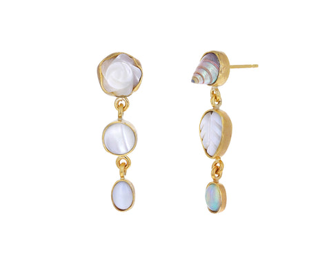 White Vintage Charm Drop Earrings