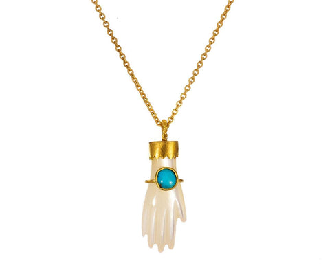 Mother of Pearl Hand Necklace with Turquoise - TWISTonline