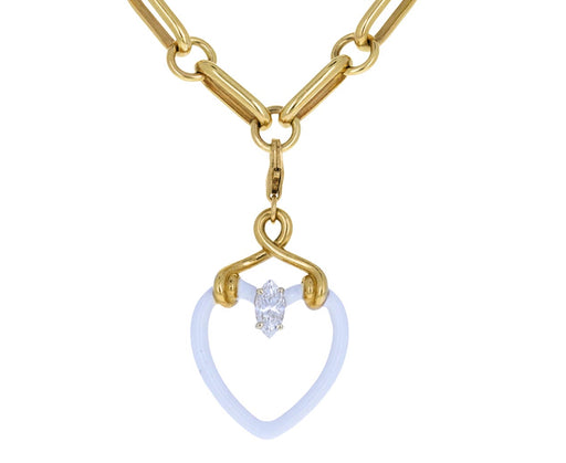Bea Bongiasca Diamond White Enamel Heart Charm ONLY