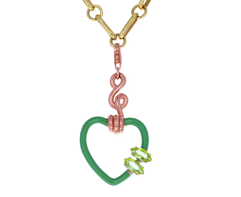 Bea Bongiasca Green Enamel and Peridot Heart Charm ONLY