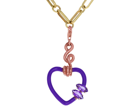 Bea Bongiasca Enamel and Amethyst Heart Charm ONLY