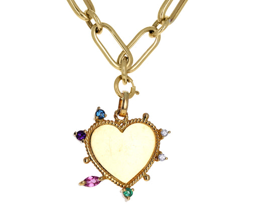 Carolina Neves Multi Gem Yellow Gold Heart Charm ONLY
