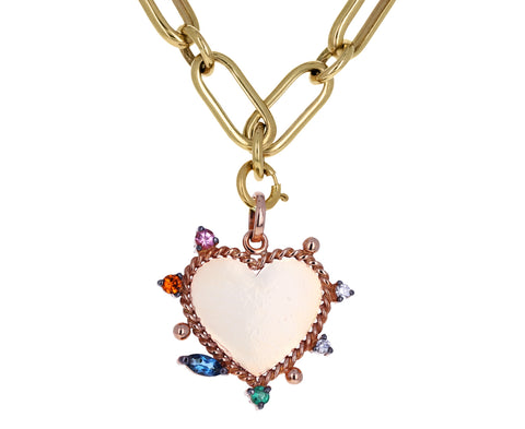 Carolina Neves Multi Gem Rose Gold Heart Charm
