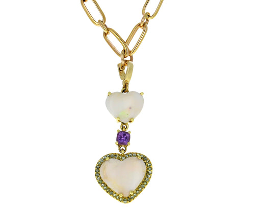 GuitaM Opal and Sapphire Double Heart Charm ONLY