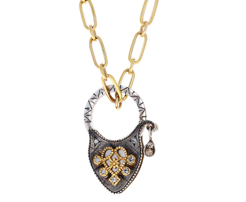 Castro NYC Blackened Sterling Silver and Diamond Heart Lock Charm ONLY