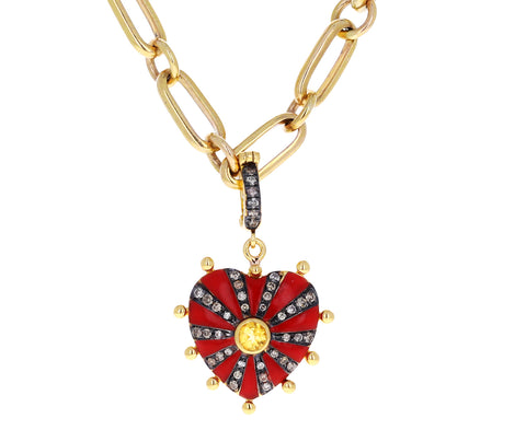 Joanna Dahdah Red Enamel, Diamond and Citrine Heart Charm ONLY